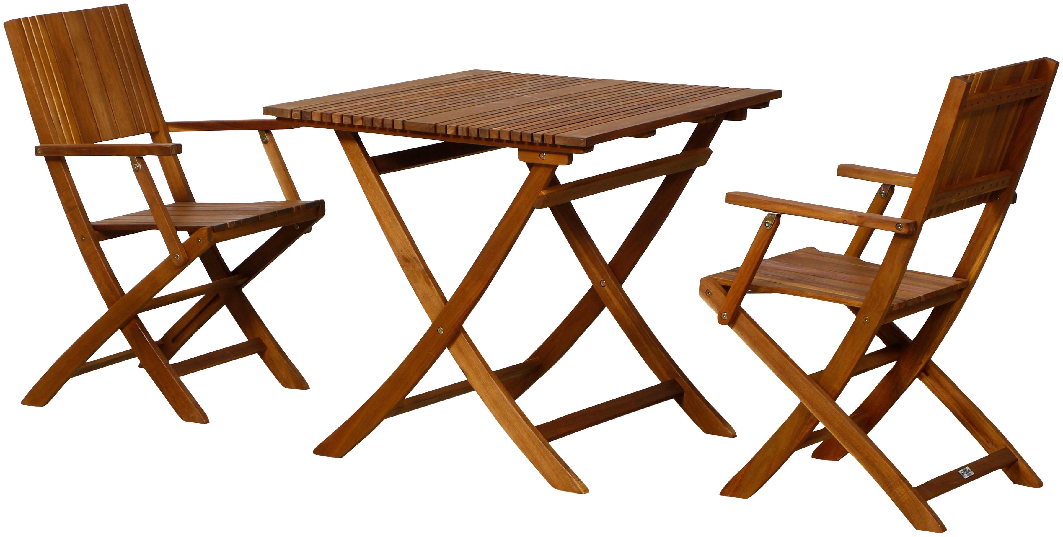 SIENA GARDEN Gartenmöbelset Falun SET 3-tlg Akazienholz 2 Sessel Tisch 80x80 cm