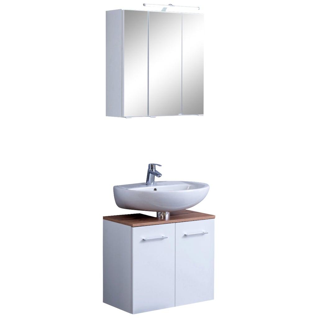 HELD MÖBEL Badmöbel-Set »Avignon«, (2 St.), mit 3D-Spiegelschrank mit LED-Aufsatzleuchte