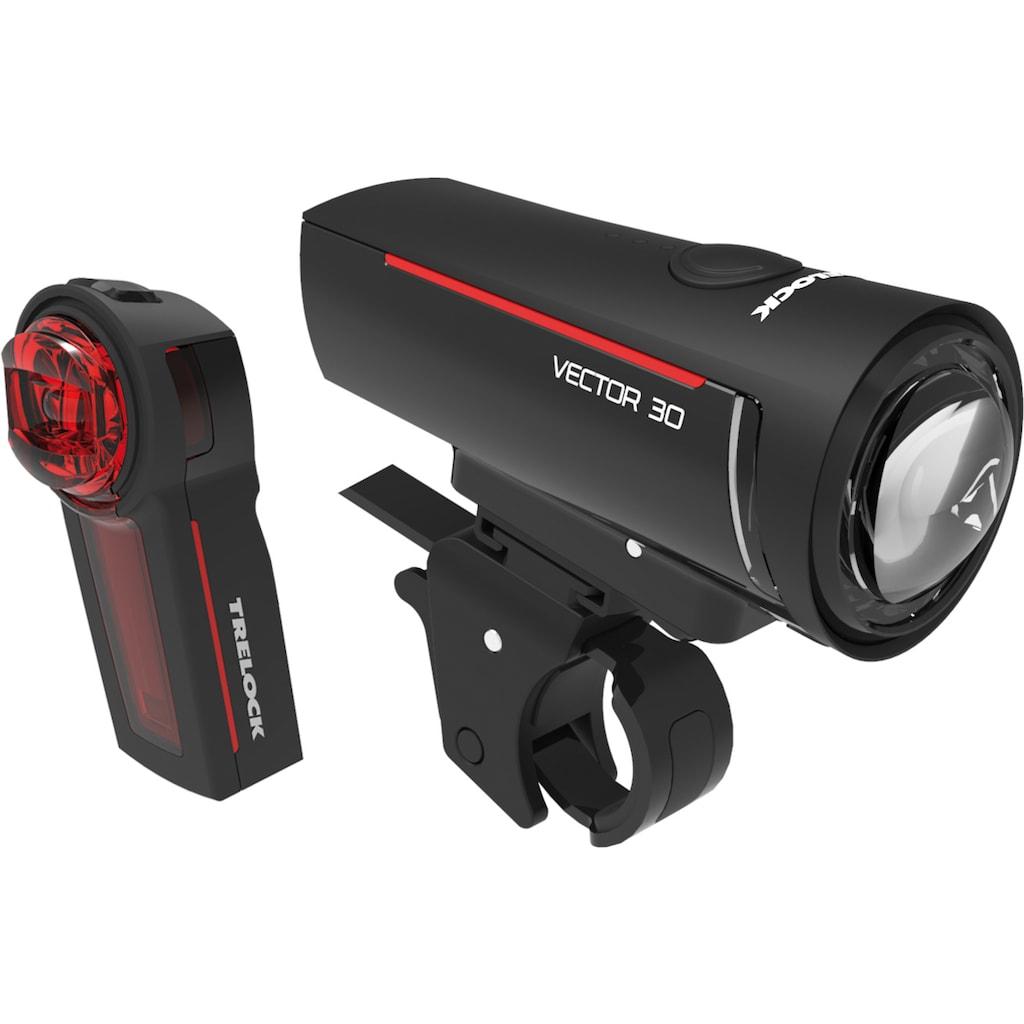 Trelock Fahrradbeleuchtung »LS 300 I-GO VECTOR 30/LS 740 VECTOR REAR SET«, (Front- und Rücklicht)
