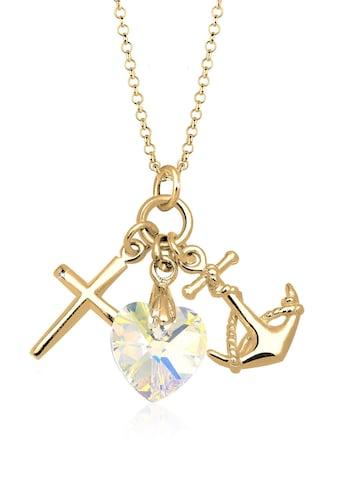 Elli Collierkettchen »Herz Anker Kreuz Kristalle Silber« kaufen