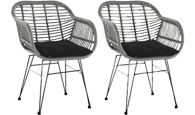 SalesFever Stuhl, inklusive Sitzkissen, im 2er-Set, Rattanstuhl aus Kunststoffgeflecht kaufen