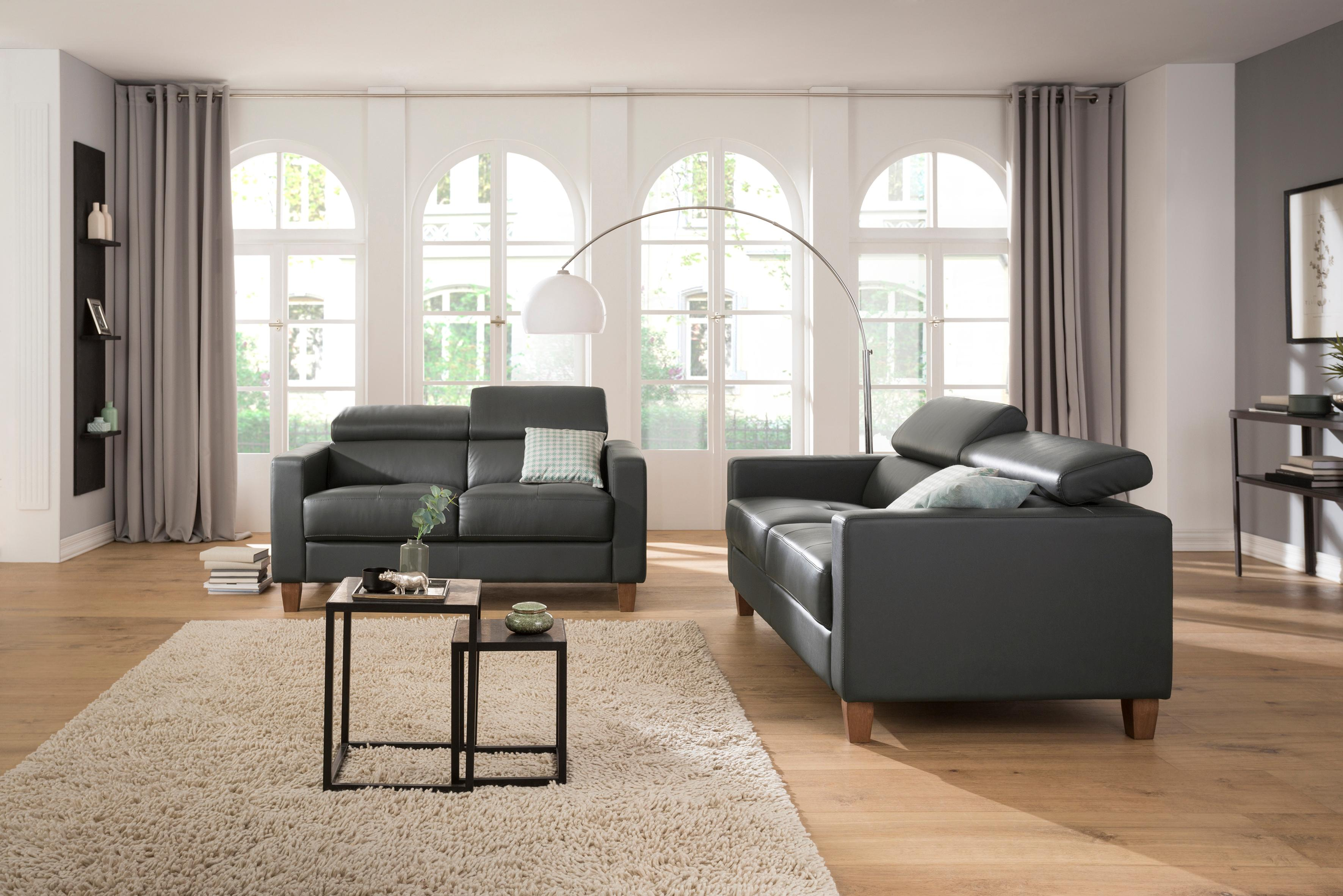 Home affaire 2-Sitzer + 3-Sitzer als Set Luzern mit verstellbarer Kopfstütze und Holzfüßen