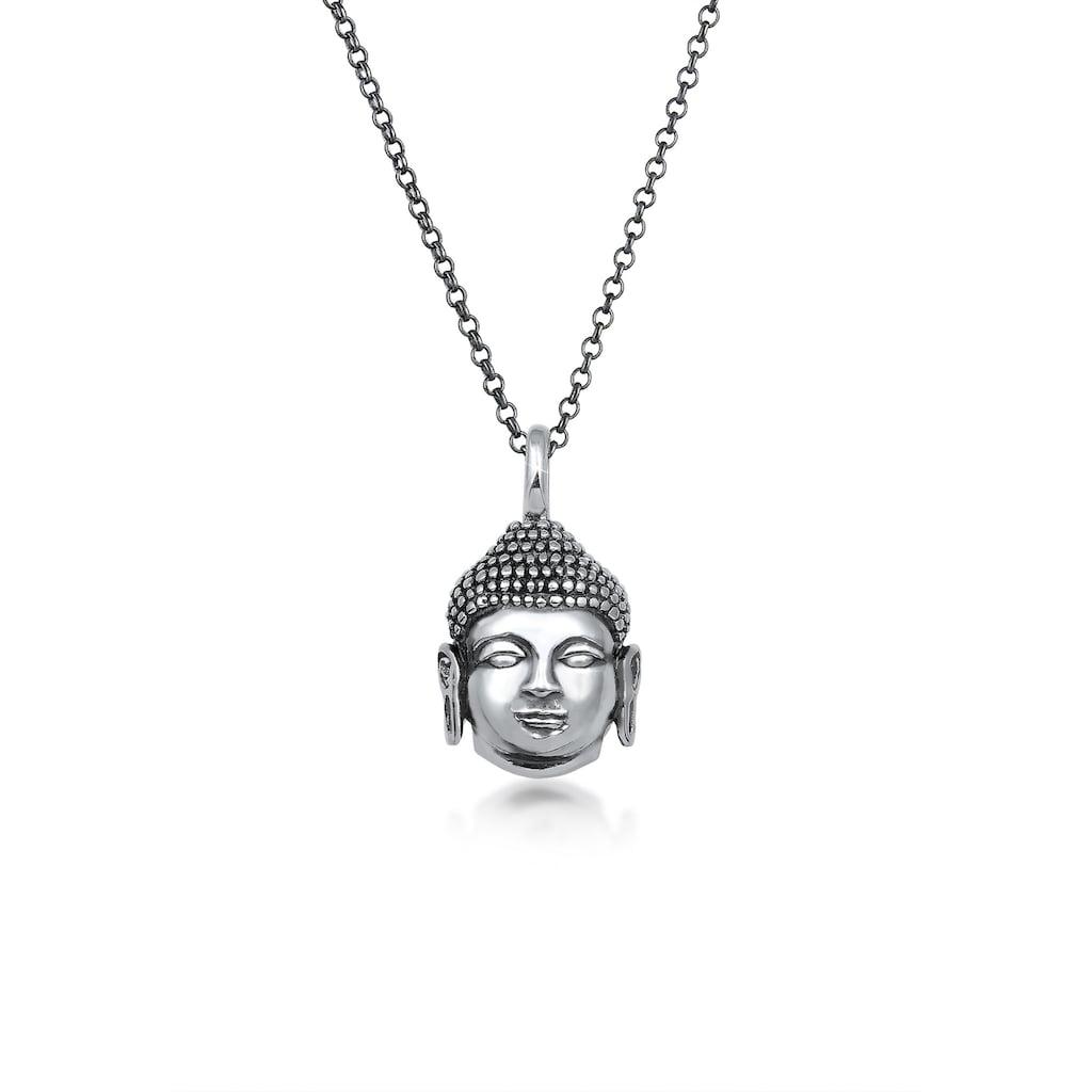 Kuzzoi Silberkette »Herren Anhänger Buddha Kopf Oxidiert 925 Silber«