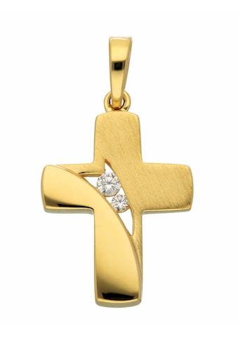Adelia´s Kettenanhänger »333 Gold Kreuz Anhänger mit Zirkonia«, Goldschmuck für Damen... kaufen
