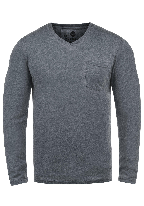 Solid Langarmshirt Them | Bekleidung > Shirts > Langarm Shirts | Blau | Solid