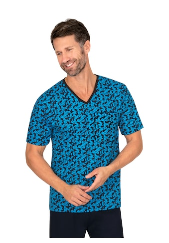 Trigema Kurzarm-Schlafshirt mit modernem Muster kaufen