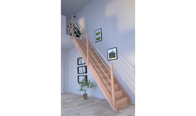 STARWOOD Raumspartreppe »Rhodos«, geschl. Stufen, gerade, Holz - Edelstahlgeländer links kaufen