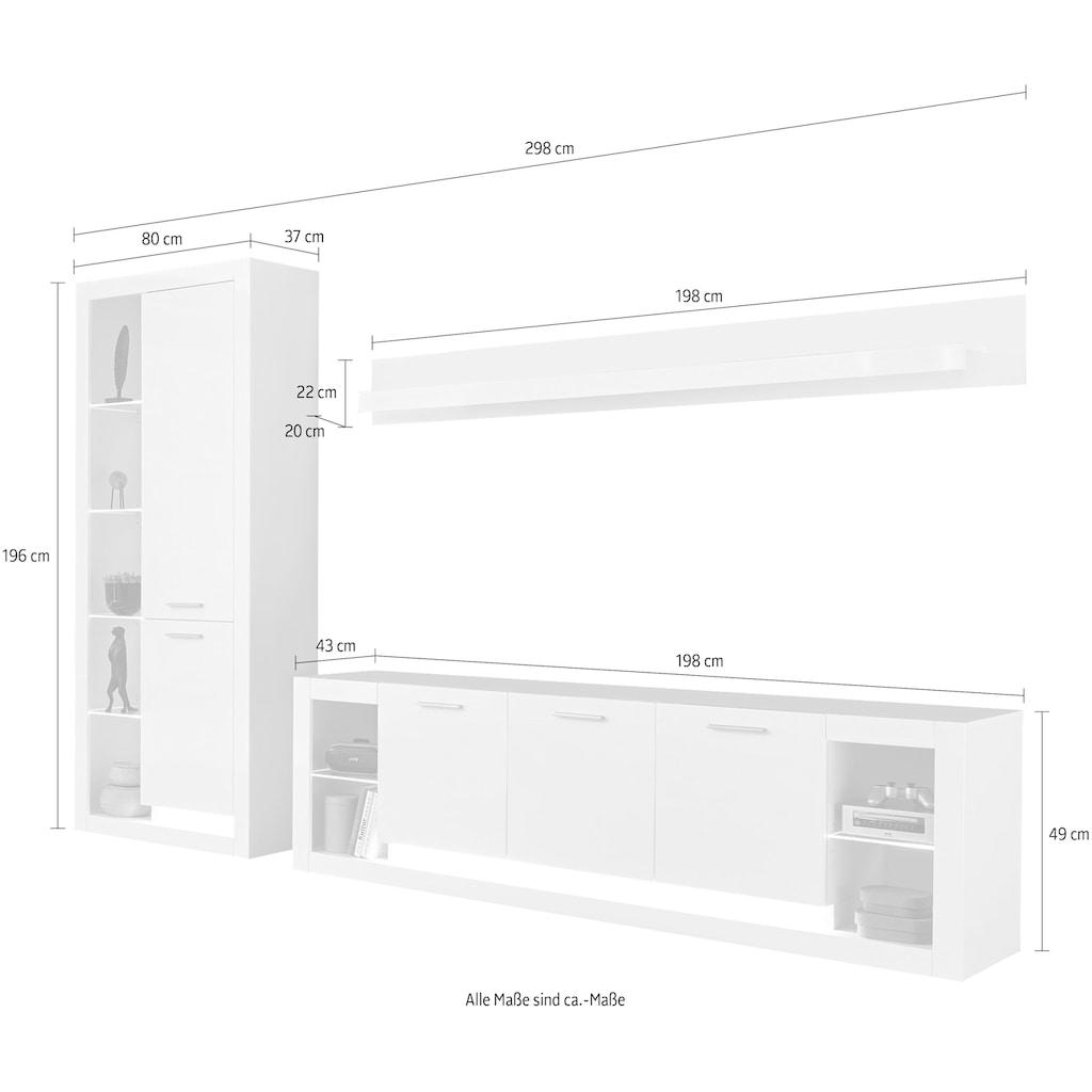 Places of Style Wohnwand »Meran«, (3 tlg., Stauraumvitrine, Lowboard, Wandregal), im modernen Design