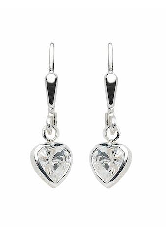 Adelia´s Paar Ohrhänger »925 Silber Ohrringe / Ohrhänger Herz mit Zirkonia«, Silberschmuck für Damen kaufen