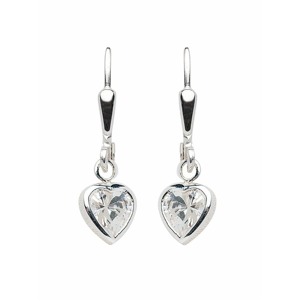 Adelia´s Paar Ohrhänger »925 Silber Ohrringe / Ohrhänger Herz mit Zirkonia«, Silberschmuck für Damen
