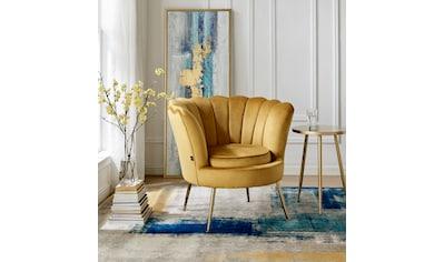 Home affaire Loungesessel »Kelsey«, mit einem schönen weichen Samtvelours Bezug, edlem Metallgestell, Sitzhöhe 43,5 cm kaufen