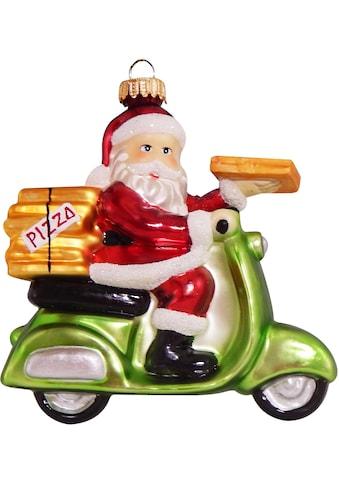 Krebs Glas Lauscha Christbaumschmuck »Pizza-Weihnachtsmann auf Vespa«, (1 tlg.),... kaufen