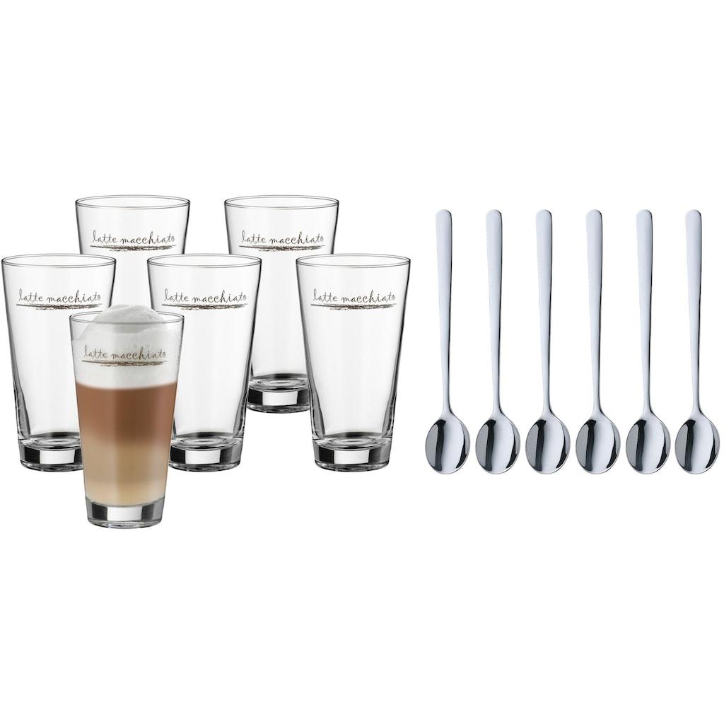 WMF Gläser-Set »Clever&More«, (Set, 12 tlg., 6x Latte Macchiato Gläser-6x Latte Macchiato Löffel), Glas stapelbar, 12-teilig