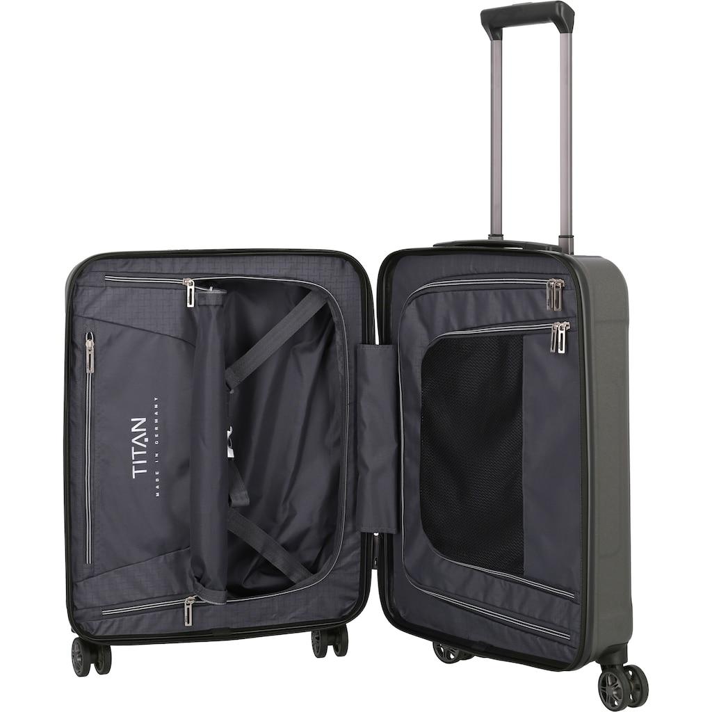 TITAN® Hartschalen-Trolley »X-Ray Pro S, 55 cm«, 4 Rollen, mit Vordertasche TSA-Fingerabdruckschloss und USB-Port, Made in Germany
