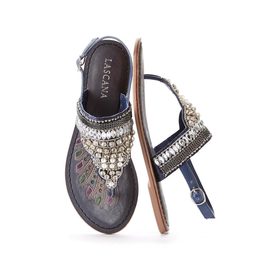 LASCANA Zehentrenner, aus Leder mit modischen Perlen und Steinchen