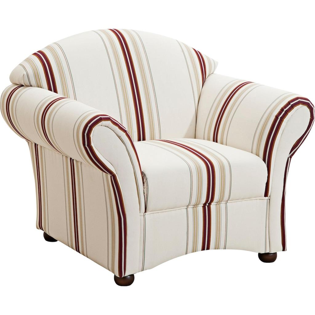 Max Winzer® Sessel »Carolina«, mit Holz-Kugelfüßen