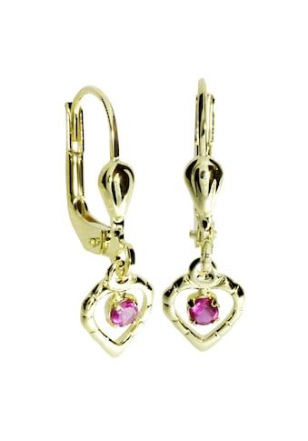 OSTSEE-SCHMUCK Paar Ohrhänger »- Herz - Gold 333/000 - sy. Rubin«, (2 tlg.) kaufen
