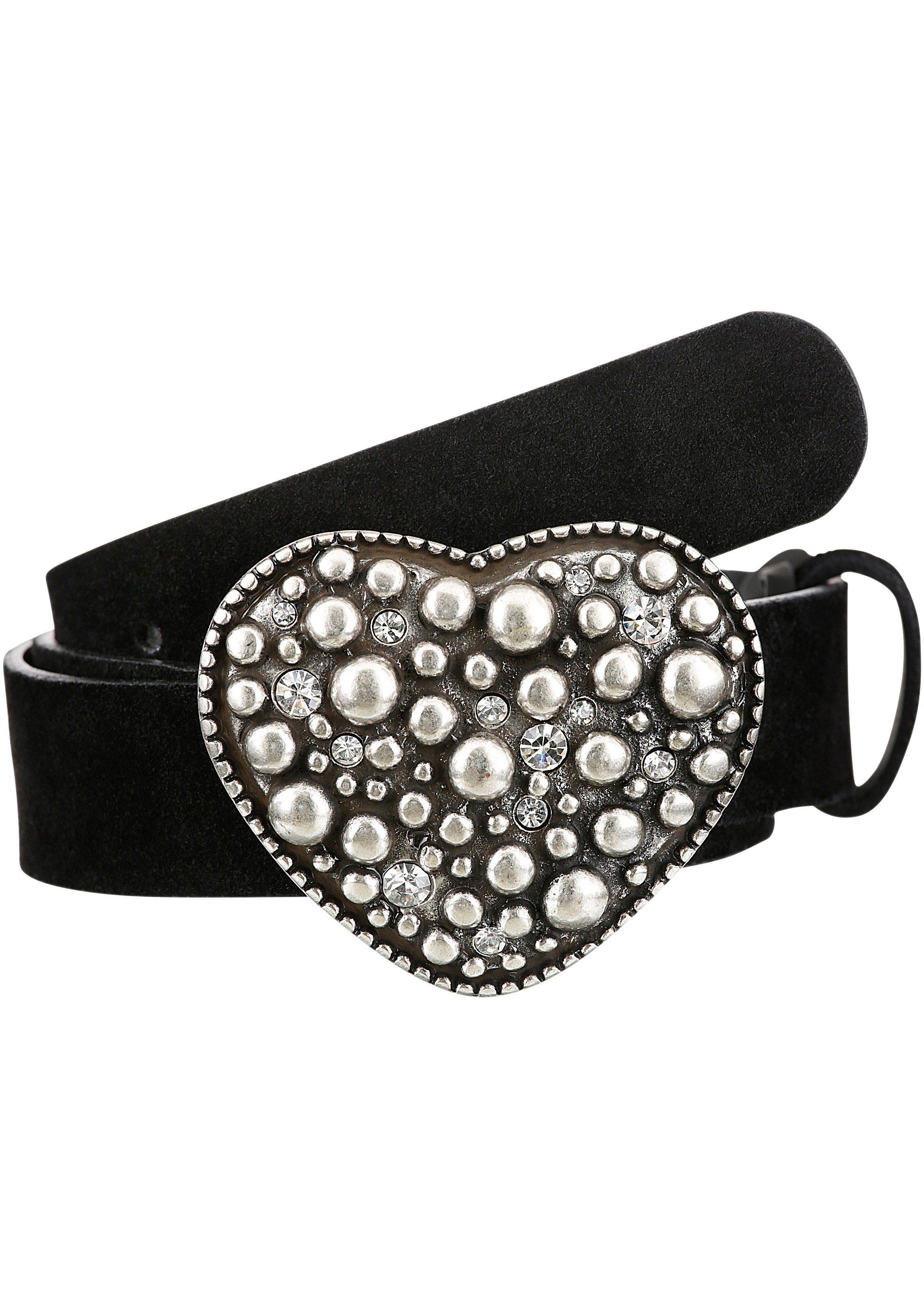 Toni Klimm Klimm Trachtengürtel Damen in Veloursoptik schwarz Ledergürtel Gürtel Accessoires