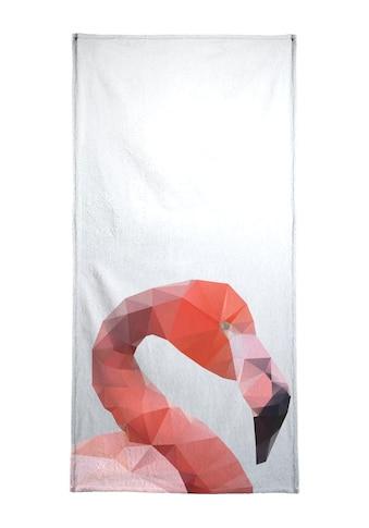 Juniqe Strandtuch »Geo Flamingo«, (1 St.), Weiche Frottee-Veloursqualität kaufen