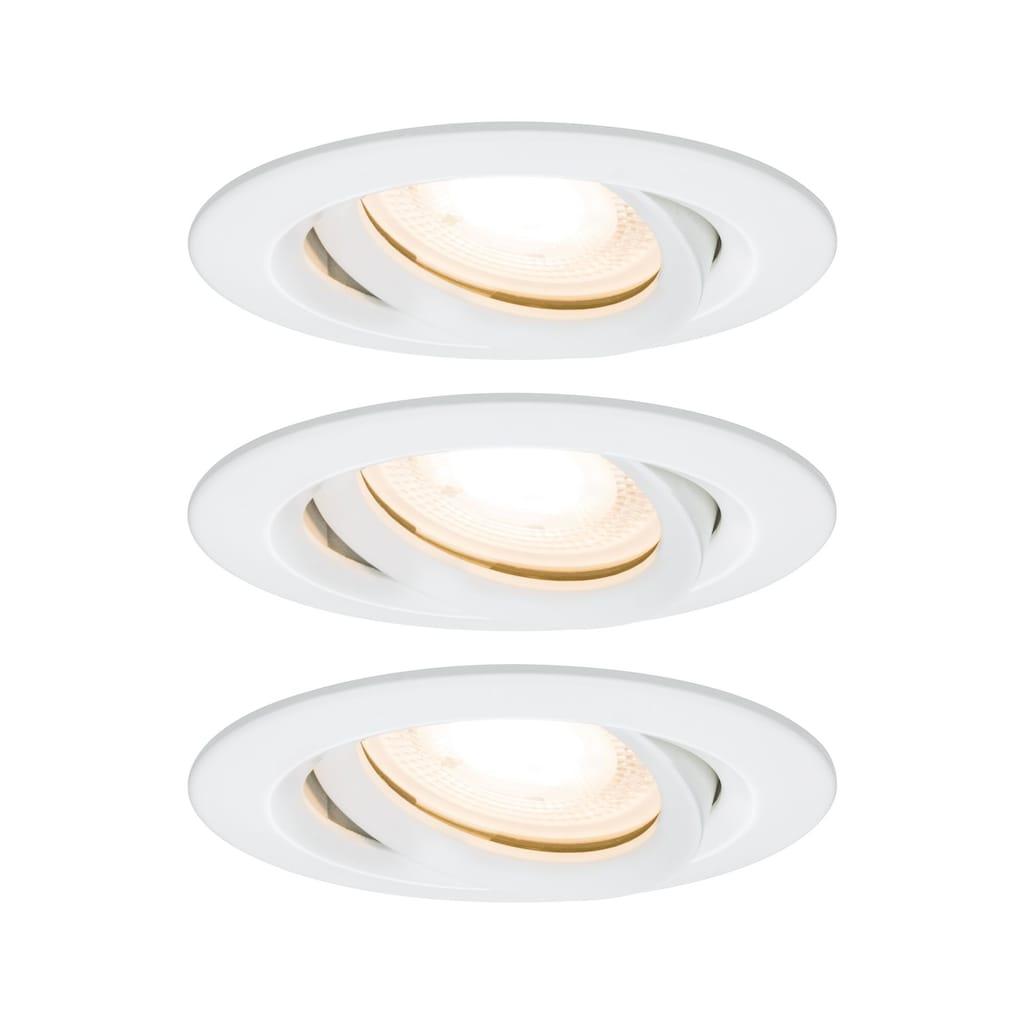 Paulmann LED Einbaustrahler »Nova rund schwenkbar 3x7W GU10 Weiß matt«, GU10, 3 St.