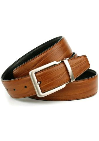 Anthoni Crown Ledergürtel, Wendegürtel in cognac und schwarz, Schließe silberfarben kaufen
