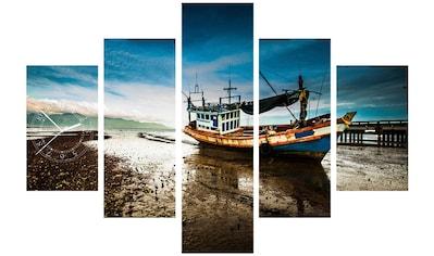 Conni Oberkircher´s Bild »Fishing Boat«, Boote & Schiffe, (Set), mit dekorativer Uhr kaufen