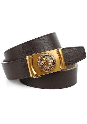 Anthoni Crown Ledergürtel, Automatik-Schließe im Antik-Look mit Löwenkopf kaufen