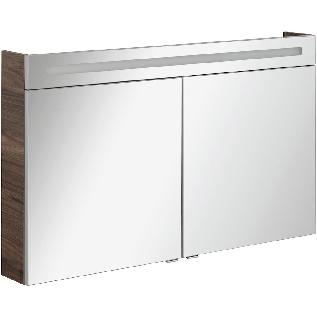 FACKELMANN Spiegelschrank »CL 120 - Ulme-Madera«, Breite 120 cm, 2 Türen, LED-Badspiegelschrank, doppelseitig verspiegelt