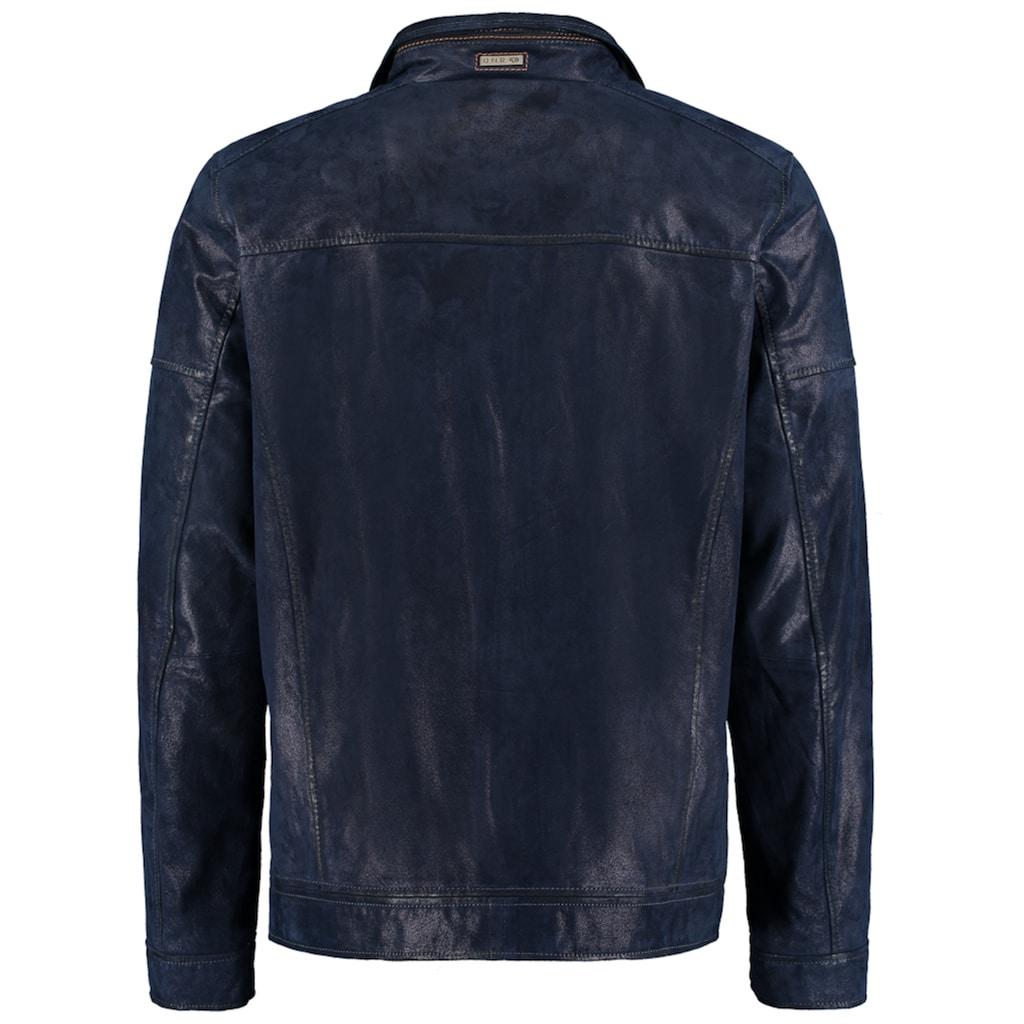 DNR Jackets Herren Lederjacke in Vintageoptik mit Reißverschluss