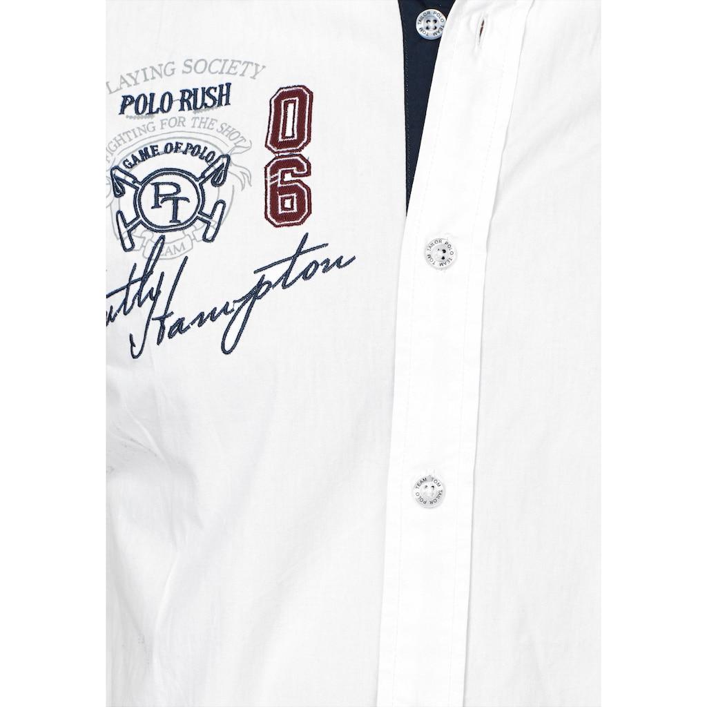 TOM TAILOR Polo Team Kurzarmhemd, mit Stickerei und Print