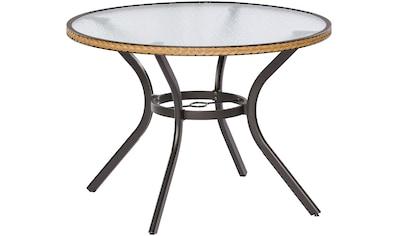 MERXX Gartentisch »Ravenna«, Polyrattan, Ø 100 cm, natur kaufen