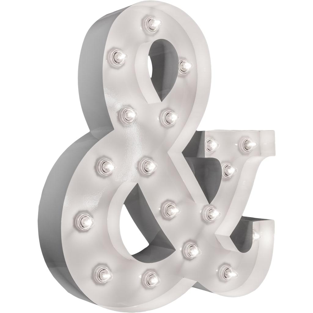 MARQUEE LIGHTS LED Dekolicht »&-Zeichen«, E14, 1 St., Warmweiß, Wandlampe, Tischlampe &-Sign mit 18 festverbauten LEDs - 53cm Breit und 61cm hoch