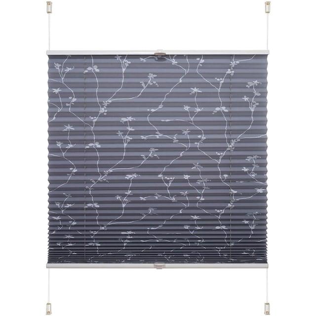 Plissee, »Klemmfix-Plissee Ranke grau«, Liedeco, Lichtschutz, ohne Bohren, verspannt