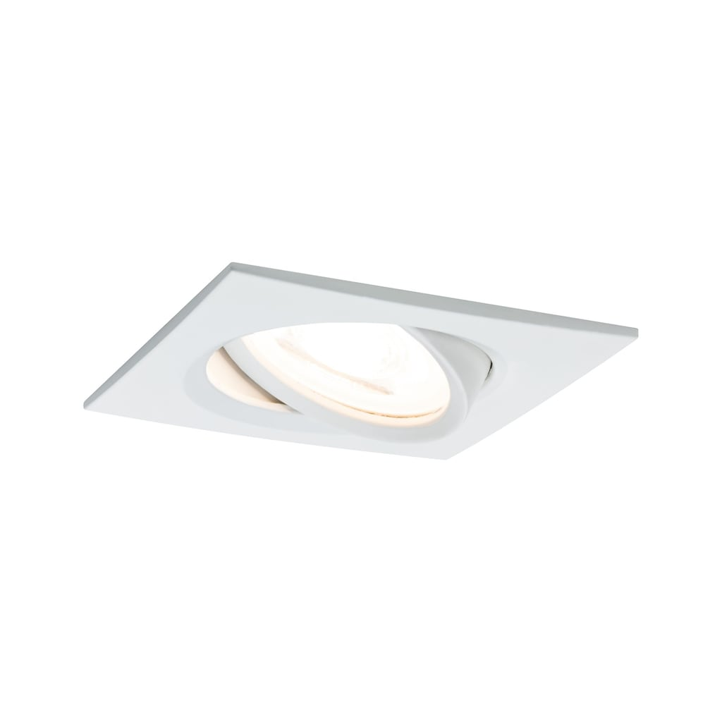 Paulmann LED Einbaustrahler »Nova eckig 1x6,5W GU10 Weiß matt schwenkbar 3-Stufen-dimmbar«, GU10