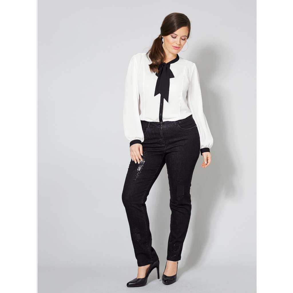Sara Lindholm by Happy Size Slim Fit Jeans mit Pailletten