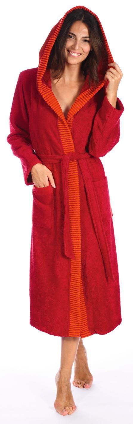 Damenbademantel, Egeria, »Benny«, mit Streifen-Bordüre   Bekleidung > Bademode > Bademäntel   Rot   Baumwolle - Ca   EGERIA