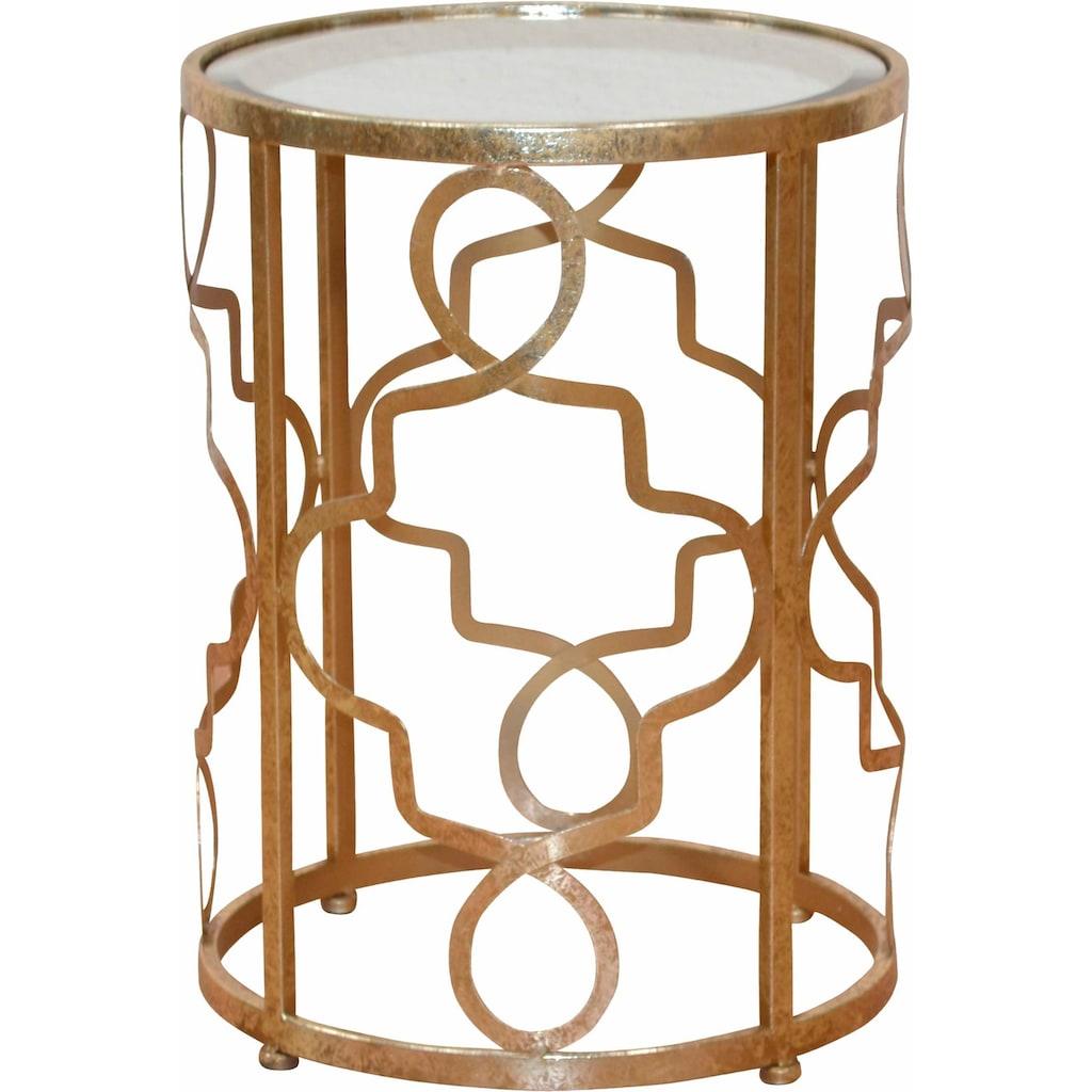 Leonique Beistelltisch »Noëlle«, mit Spiegelglasplatte und goldfarbenem Metallgestell