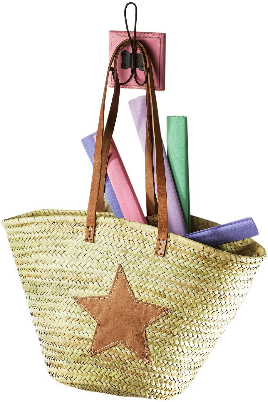 Home affaire Ibizatasche aus Palmblatt mit Echt-Lederhenkeln und Sterndeko aus Leder | Bekleidung > Bademode > Bademäntel | Bunt | HOME AFFAIRE
