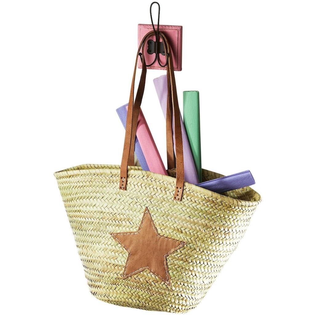 locker Aufbewahrungsbox, aus Palmblatt mit Echt-Lederhenkeln und Sterndeko aus Leder