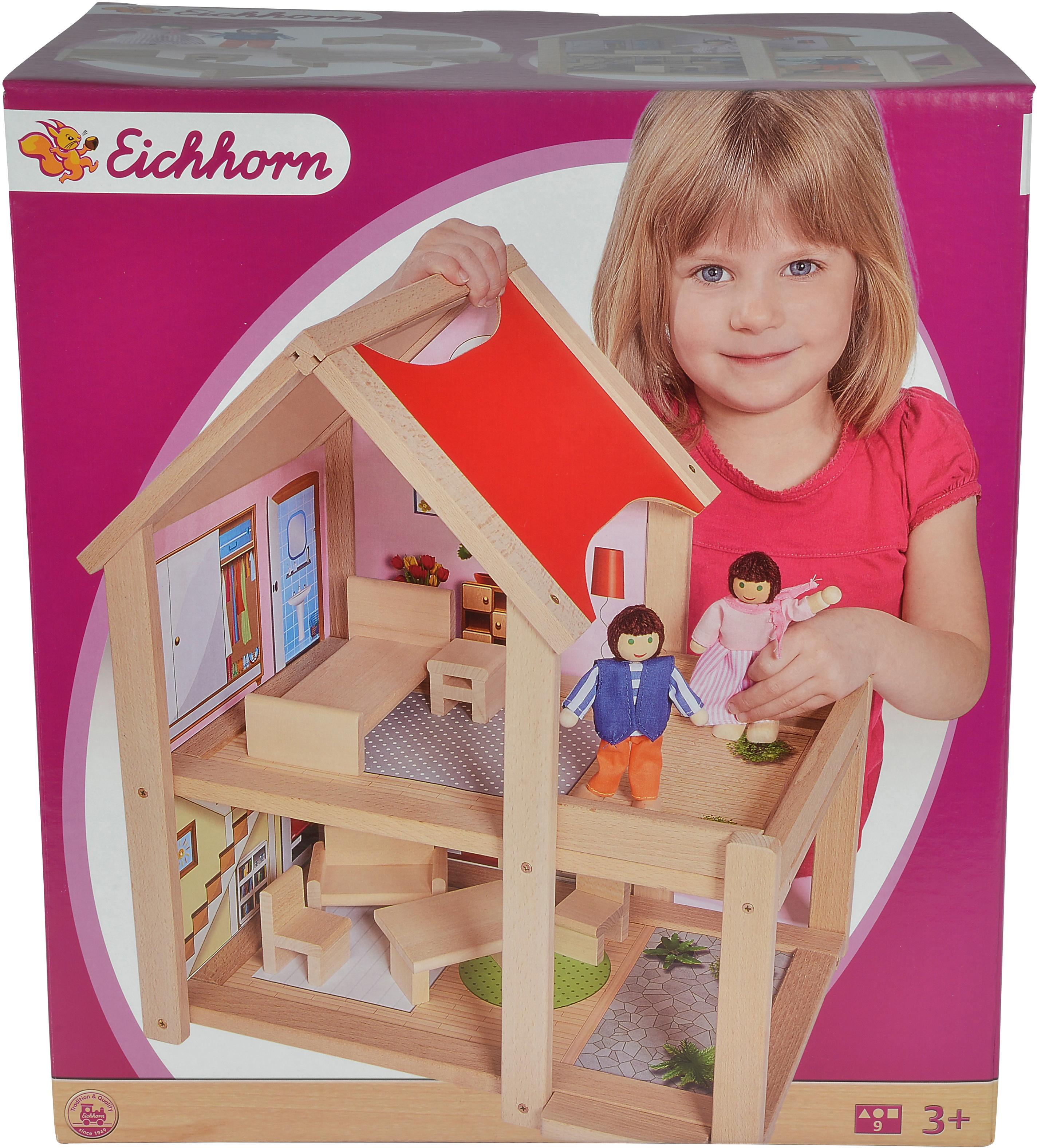 Eichhorn Puppenhaus, mit Einrichtung und Spielfiguren; Made in Europe beige Kinder Ab 3-5 Jahren Altersempfehlung Puppenhaus
