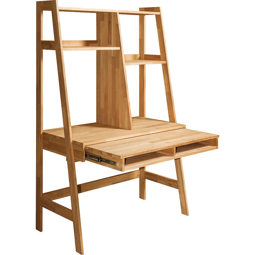 andas Schreibtisch »Vinson«, aus schönen massiven Eichenholz, mit vielen Stauraummöglichkeiten, Breite 115 cm