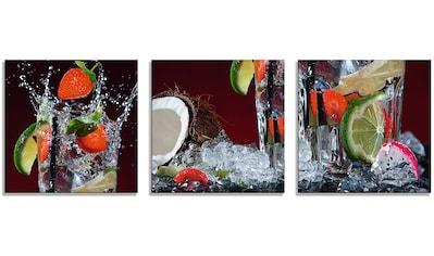 Artland Glasbild »Frischer Fruchtcocktail I«, Getränke, (3 St.) kaufen