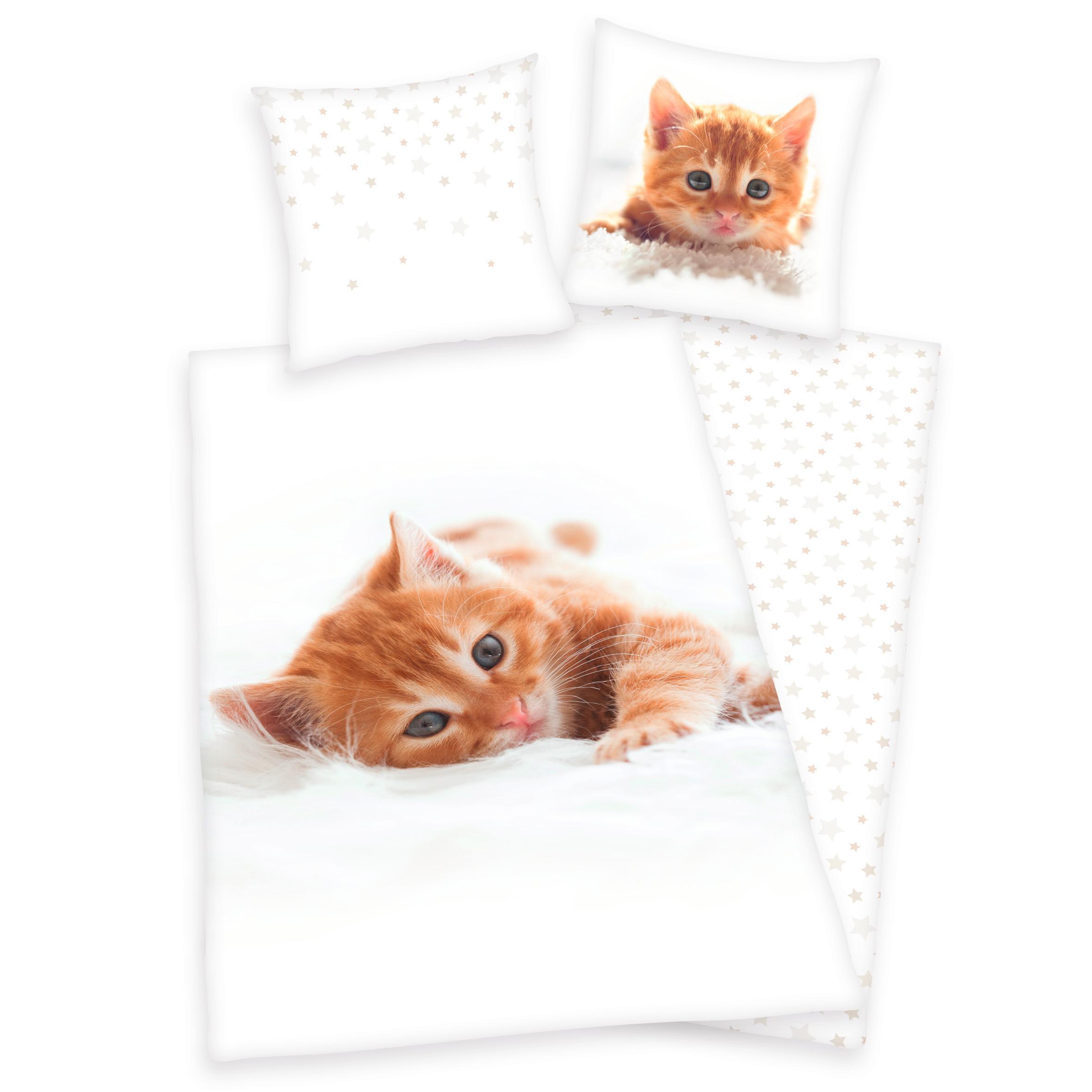 Kinderbettwäsche Katze Herding Young Collection | Kinderzimmer > Textilien für Kinder > Kinderbettwäsche | Weiß | Herding Young Collection