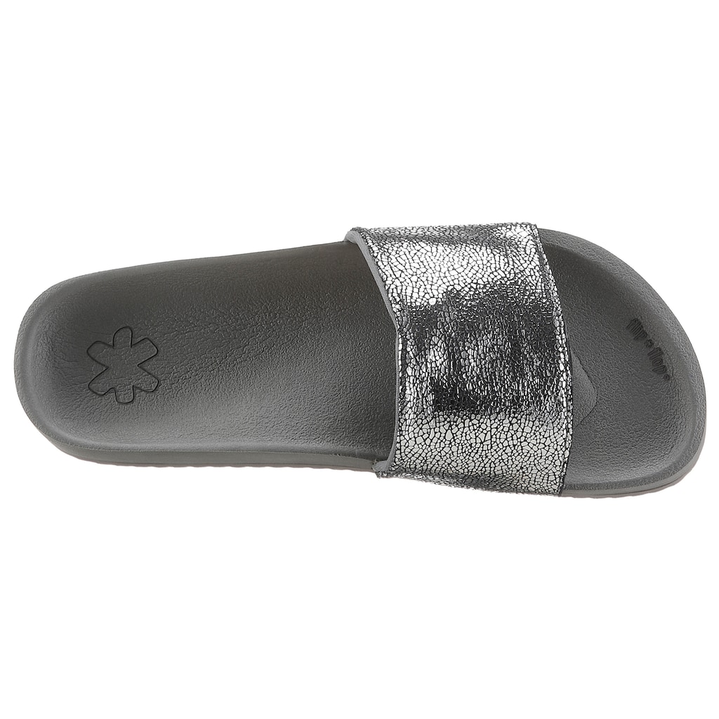 Flip Flop Pantolette »pool metallic cracked«, mit Metallic Crush Effekt