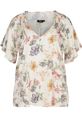 Zizzi Klassische Bluse, mit V-Ausschnitt und Raglanärmel kaufen