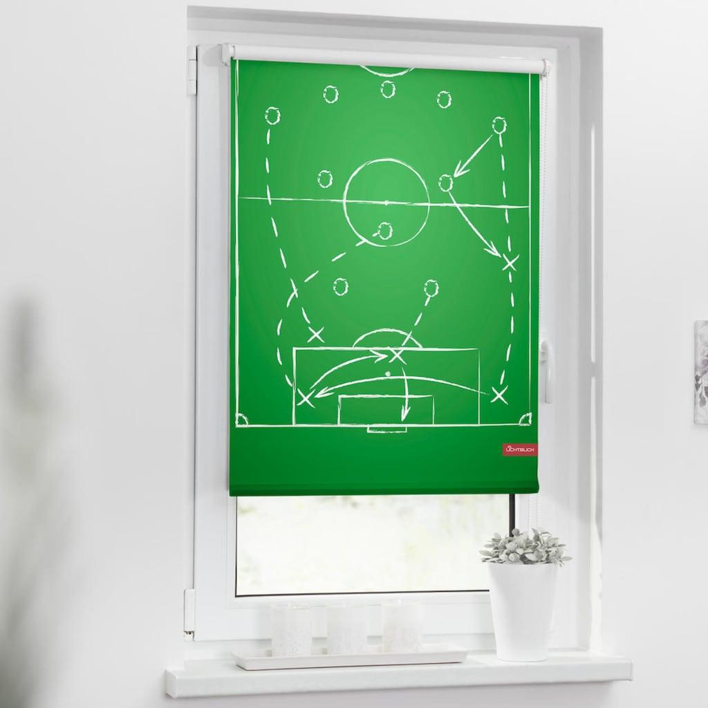 LICHTBLICK ORIGINAL Seitenzugrollo »Rollo Klemmfix, ohne Bohren, Verdunkelung, Spieltaktik - Grün Weiß«, verdunkelnd, Verdunkelung, freihängend