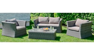 GARDEN PLEASURE Loungeset »AVILA«, 13 - tlg., 2er - Sofa, 2 Sessel, Tisch 62x111 cm, Polyrattan kaufen