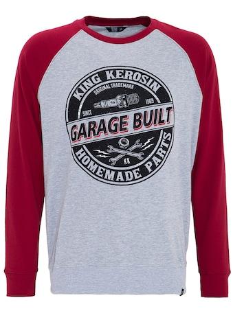 KingKerosin Sweater »Garage Built«, mit Raglanärmeln und auffälligem Print kaufen