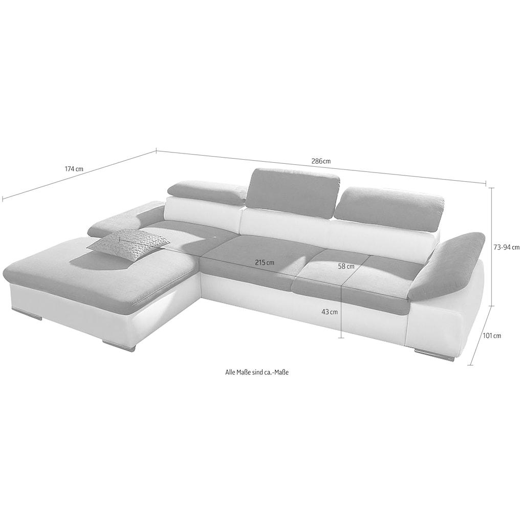 sit&more Ecksofa, mit Recamiere, wahlweise mit Bettfunktion