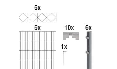 GAH Alberts Doppelstabmattenzaun »Bergen«, anthrazit, 100 cm hoch, 5 Matten für 10 m,... kaufen